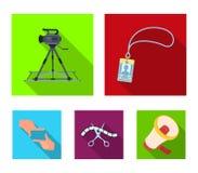 Badge, geste d'opérateur et d'autres accessoires pour le film Fabrication des icônes de collection de décor de film dans le vecte Images libres de droits