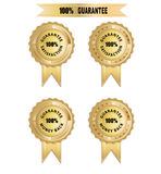 Badge 100 Guarantee. Guarantee for satisfaction and moneyback in gold color Stock Image
