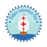 Badge Happy Christopher Columbus Day with caravel Stock Photos
