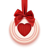 Badge with heart, red ribbon and bow, isolated on. White background. Valentine's Day decoration. Vector illustration Royalty Free Stock Image