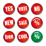 Badge Icon Set 1. Red Badge Icon Set 1 Vector Drawing Stock Images