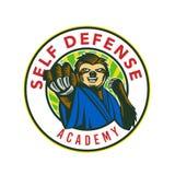 Sloth Karate Self Defense Badge Royalty Free Stock Image