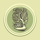 Badge or icon with Zen-tangle tree green olive Royalty Free Stock Photography