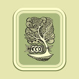 Badge or icon with Zen-tangle tree in green olive Royalty Free Stock Photos
