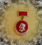 Badge with the image of Vladimir Lenin Ulyanov from the series `Vladimir Lenin`. Closeup. Faleristics. Low DOF photography royalty free stock photo