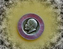 Badge with the image of Vladimir Lenin Ulyanov from the series `Vladimir Lenin`. Closeup. Faleristics. Low DOF photography stock photo