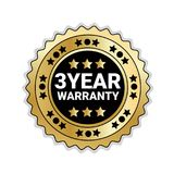 Badge Isolated With 3 Years Of Warranty Sign Golden Mark Icon. Vector Illustration Royalty Free Stock Photography