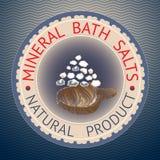 Badge la plantilla con las sales de baño minerales del texto, producto natural Foto de archivo libre de regalías