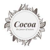 Badge la progettazione con gli elementi della pianta di cacao ed i baccelli della vaniglia royalty illustrazione gratis