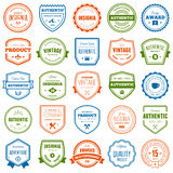 Badge and label collection. Set of various badges and labels with text Stock Photography