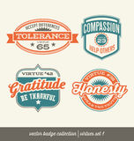 Badge label collection with virtues Royalty Free Stock Image