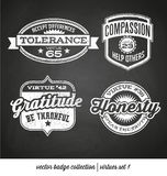 Badge label collection with virtues Stock Photo