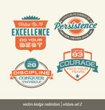 Badge label collection with virtues-retro style Stock Photos