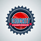 Badge or label for Cricket Championship concept. Badge, sticker or label with red ball for Cricket Championship concept on shiny sky blue background Stock Image