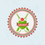 Badge or label for cricket sports concept. Stock Photography