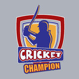 Badge or label for sports of cricket concept. Badge or label with batsman in playing action and text Cricket Champion on grey background Royalty Free Stock Photos