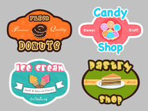 Badge, label and sticker for dessert shop. Royalty Free Stock Photo