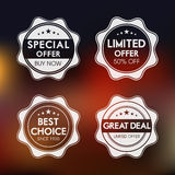 Badge, label and sticker for special offer. Set of four badges of special, limited , best choice and great deal offer Royalty Free Stock Photography