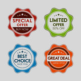Badge, label and sticker for special offer. Stock Photography