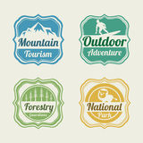 Badge, label and sticker for tourism. Royalty Free Stock Image