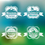 Badge, label and sticker for tourism. Royalty Free Stock Photos