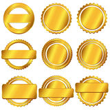 Badge medal label - golden Stock Photography