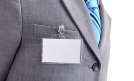 Badge on mens torso Royalty Free Stock Photo