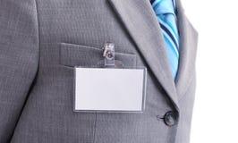 Badge on mens torso Royalty Free Stock Photo