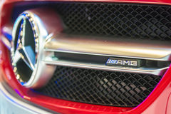 Badge of Mercedes-Benz CLA45 AMG at the Singapore Motorshow 2015. Mercedes-Benz's super car CLA45 AMG on display at the Singapore Motorshow 2015 on 15 January Stock Photography