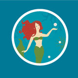 Badge with Mermaid, Coral and Pearls Stock Images