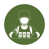 Badge military man with his team Royalty Free Stock Photography