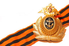 Badge military naval forces of Russia Stock Photos