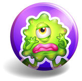 Badge and monster. Sad monster with one eye on purple badge Royalty Free Stock Images