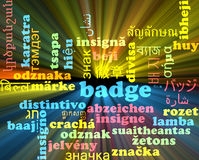 Badge multilanguage wordcloud background concept glowing Stock Photo