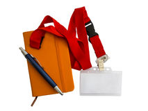 Badge, notebook and pen Stock Image