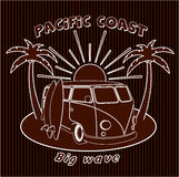Badge old car trip to the ocean, surfing, sports, board Stock Images
