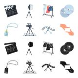 Badge, operator gesture and other accessories for the movie. Making movie set collection icons in black,cartoon style. Vector symbol stock illustration Royalty Free Stock Photo