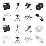 Badge, operator gesture and other accessories for the movie. Making movie set collection icons in black,monochrome style. Vector symbol stock illustration Royalty Free Stock Photos