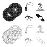 Badge, operator gesture and other accessories for the movie. Making movie set collection icons in black,outline style. Vector symbol stock illustration Stock Photo
