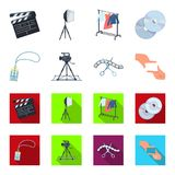 Badge, operator gesture and other accessories for the movie. Making movie set collection icons in cartoon,flat style. Vector symbol stock illustration Stock Image
