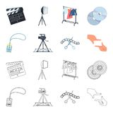 Badge, operator gesture and other accessories for the movie. Making movie set collection icons in cartoon,outline style. Vector symbol stock illustration Stock Image