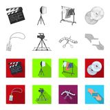 Badge, operator gesture and other accessories for the movie. Making movie set collection icons in monochrome,flat style. Vector symbol stock illustration Royalty Free Stock Image