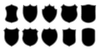 Badge patch shield shape vector heraldic icons. Football or soccer club military police clothing badge patch blank black