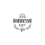 Badge pour des petites entreprises - artiste Hairdresser de salon de beauté Autocollant, timbre, logo - pour la conception, mains Photos libres de droits