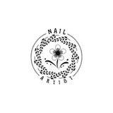 Badge pour des petites entreprises - artiste Sticker, timbre, logo de clou de salon de beauté - pour la conception, mains faites  Photo libre de droits