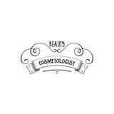 Badge pour des petites entreprises - Cosmetologist Sticker, timbre, logo de salon de beauté - pour la conception, mains faites Av Image stock