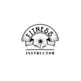 Badge pour des petites entreprises - instructeur de forme physique de salon de beauté Autocollant, timbre, logo - pour la concept Images libres de droits
