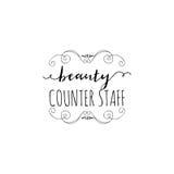 Badge pour des petites entreprises - personnel de compteur de salon de beauté Autocollant, timbre, logo - pour la conception, mai Photos libres de droits
