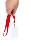 Badge a red ribbon. Stock Image
