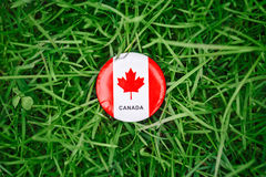 Badge with red white canadian flag maple leaf lying in grass on green forest nature background outside, Canada day. Macro closeup shot of round circle badge with Stock Photos